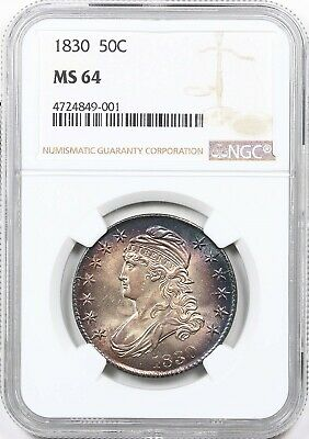 1830 NGC MS 64 Capped Bust Half Dollar Mint State 64 * Remarkable Rainbow Toner!
