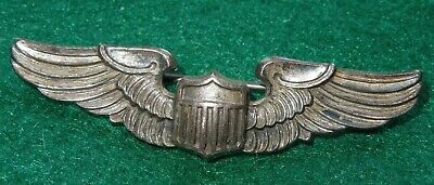 "WWII Korean War US Army Air Force STERLING Pilot 2"" Wings AMICO Pin Back USAF"