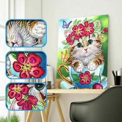 Flower Cat 5D DIY Special Diamond Painting Embroidery Cross Stitch Kits Craft