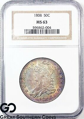 1808 Capped Bust Half Dollar NGC MS 63 * Subtle Rainbow Colors, Tough This Nice!