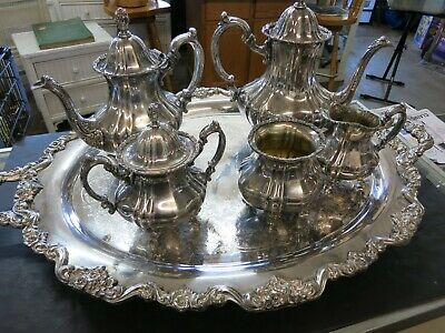 E.P.O.A. Lancaster Silver Rose By Pool  COFFEE TEA 6 pieces Set Looks Great