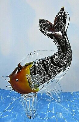 """Large Art Glass Fish Figurine Amber Clear Silver Black 11"""" High 7.5"""" Long"""