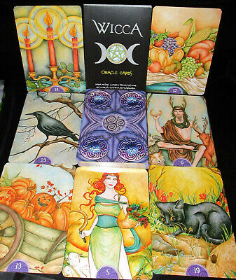 New! Open For Pics ~ Wicca Cards & Book Oracle Beautiful Silver Gilded Edges