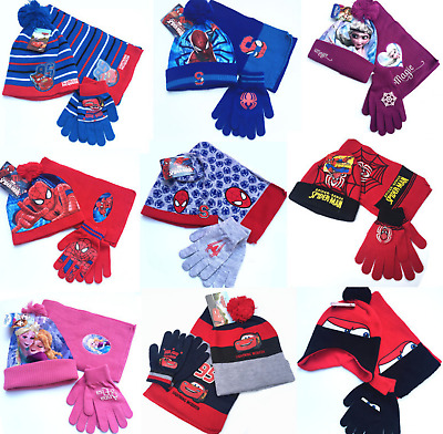 Boys Girls Spiderman Cars Character Winter Hat Scarf Gloves Set Kids Beanie Hat