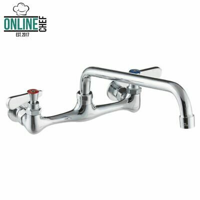 "12"" Wall Mounted Swivel Faucet 8"" Centers Swing Spout Chrome Plated Dish Wash"