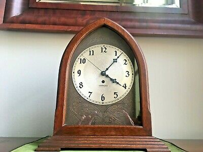 1930's Hammond Electric Cathedral Wooden Shelf Mantel Clock Keeps Perfect Time