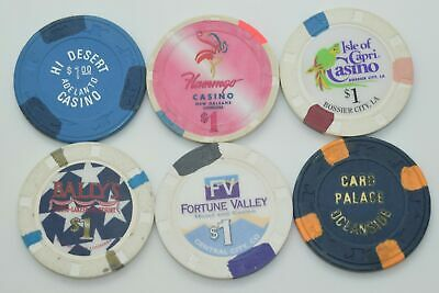 Set of 6 Mix $1 Casino Chips Flamingo-Isle of Capri-Fortune Valley-Bally's