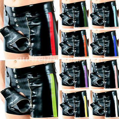 New 100% Latex Rubber Gummi Men Sexy Hip Tight Shorts With Zipper Size XXS-XXL