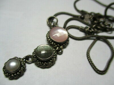 Sterling Silver Estate Vintage Triplet Mother Of Pearl Abalone 17 In Necklace