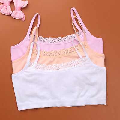 Young Girls Bra Cotton Teenage Puberty Soft Lace Underwear Training Bra 8-15Y