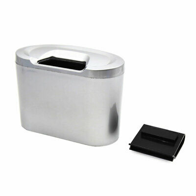 Silver Tone Mini Car Garbage Dust Case Holder Box Hanging Trash Bin Rubbish Can