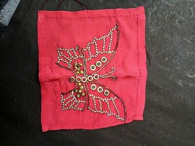 Antique Indian Metal Thread Pink Velvet Rumal Napkin Woman's Stone Embroidered