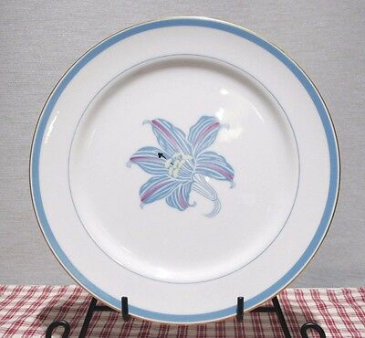 "RARE! LOT of 3 Narumi China OCCUPIED Japan RHAPSODY Blue Lily 10"" Dinner Plates"