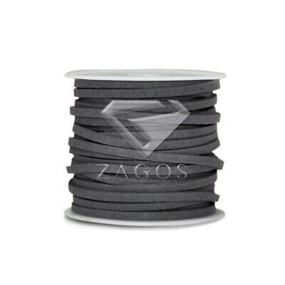 1 Roll 5M Faux Suede Cord Thread Thong String Beading Jewellery 3mmx1.5mm Gray