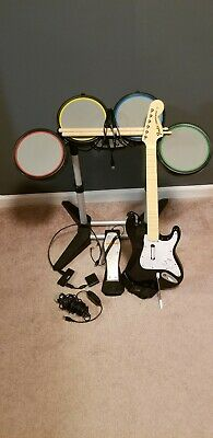 ROCK BAND PS3 BUNDLE: Drums, Guitar, USB Splitter & Microphone Used