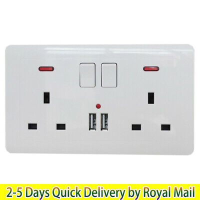 Double Wall Plug Socket 2 Gang 13A with 2 USB Charger Port Electrical Products