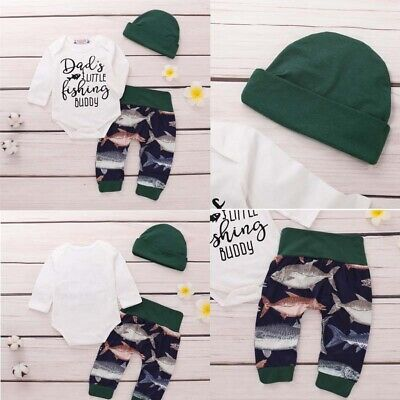 Newborn Baby Boy Girl Casual Clothes Cotton Romper Tops Fish Pant Hat Outfit Set