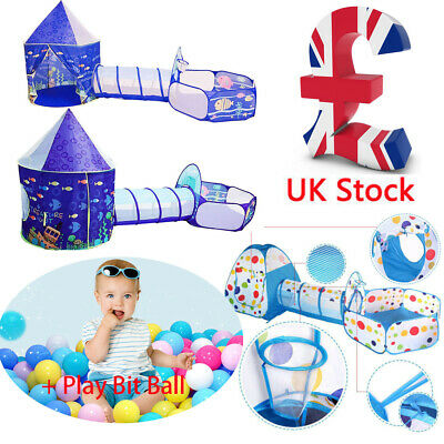Kids Play Tent  3 in 1 Portable Children Tunnel Ball Pit Playhouse Pop Up UK