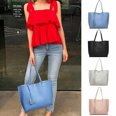 Fashion Tote Bag Women's Casual PU Leather Shoulder Tassel Bags Large Capacity