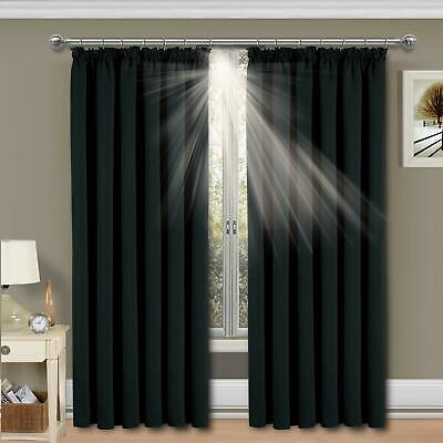 Thermal Blackout curtains in black Pencil Pleat ready made with Tie Backs 90x90""