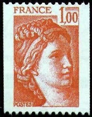 """FRANCE STAMP TIMBRE YVERT N° 1981 """" SABINE DE ROULETTE 1F ROUGE """" NEUF xx TTB"""