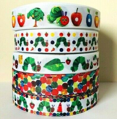 The Very Hungry Caterpillar Fruits Dots Printed Kids Nursery Grosgrain Ribbon UK