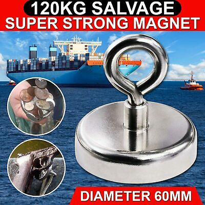 Salvage Strong Recovery Magnet 60mm 120 Kg Neodymium Hook Treasure Fishing