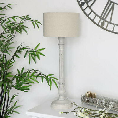 Vintage Style Table Lamp Stone Grey lighting french shabby chic ornate bedroom