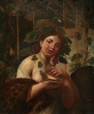 18th CENTURY LARGE DUTCH OLD MASTER OIL ON CANVAS - NUDE GIRL GATHERING GRAPES