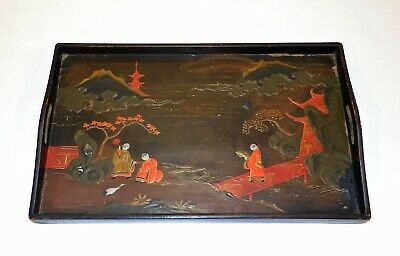 Antique Early Hand Painted Japanese Chinoiserie  Lacquer Wood Serving Tray