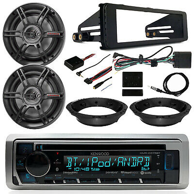 "Kenwood CD Receiver, 6.5"" Crunch Speakers, Thumb Controls, 98-13 Harley Dash Kit"