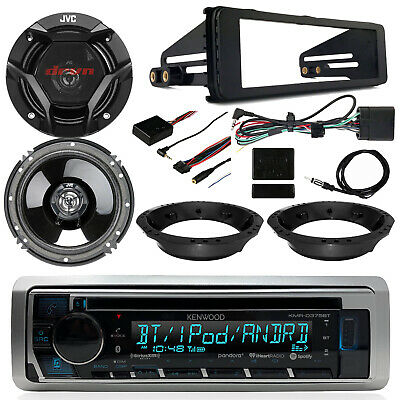 "98-13 Harley Kenwood CD USB Receiver, JVC 6.5"" Speakers, Thumb Controls,Dash Kit"