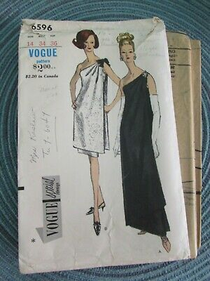 Vtg 1960s VOGUE EVENING DRESS Special Design PATTERN 6596 One Shoulder Drape 34
