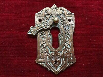 Antique Decorative Brass Key Hole Lock Escutcheon Cover Plate