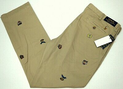 NWT $125 Polo Ralph Lauren Stretch Slim Fit Chino Pants Mens Tan Football NEW