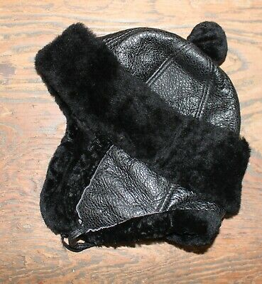 Vintage Childs Leather & Fur Winter Hat Hunting Made in Turkey