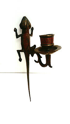 Antique Indian Asian Lizard Wall Sconce Brass Candle Stick
