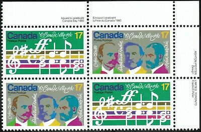 """Canada sc#858a """"O Canada"""" Centenary: Opening Bars & Composers, UR Block, Mint-NH"""