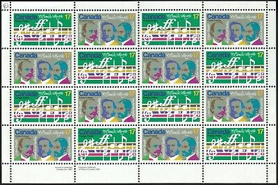 """Canada sc#858a """"O Canada"""" Centenary: Opening Bars & Composers, LL Pane, Mint-NH"""