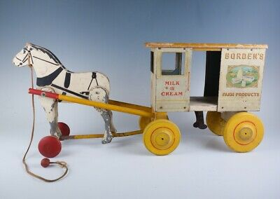 Antique Early 20c Borden's Milk & Cream Horse Drawn Wagon Wood Pull Toy