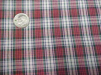 6 Yd Vintage Cotton Quilt Fabric RED Green Plaid Quilters Material Sew Crafts
