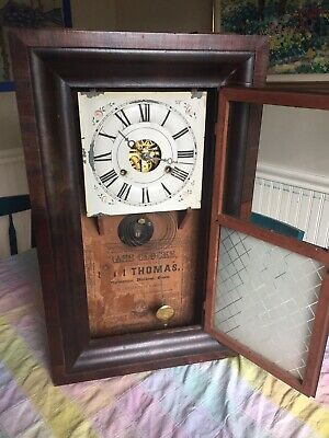 Antique Seth Thomas OG Ogee 1871 Signed Brass Movement Weight Driven Clock