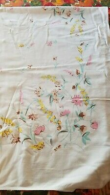 "Vintage WHITE Linen TABLECLOTH Pink YELLOW Brown TEAL Floral  52"" x 43"" GUC"