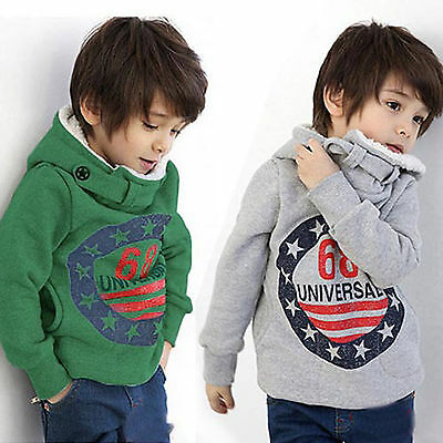 Kids Boys Girls Winter Warm Hooded Fleece Hoodies Jacket Sweatshirt Sweater Coat