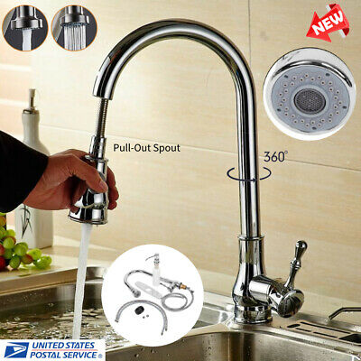 9/16'' Ceramic Valve Brass Pull-Out Sink Faucet Single Handle Mixture Water Tap