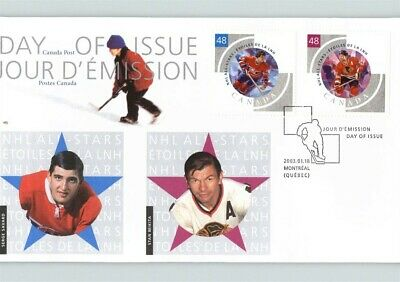 ICE HOCKEY First Day of Issue, CANADA , 2 stamps, cancelled MONTREAL