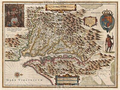 1630 Virginia Colonial Jamestown Historic Vintage Style Wall Map - 24x32