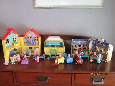 Large PEPPA PIG Lot House School Camper Train Furniture Accessories & Characters