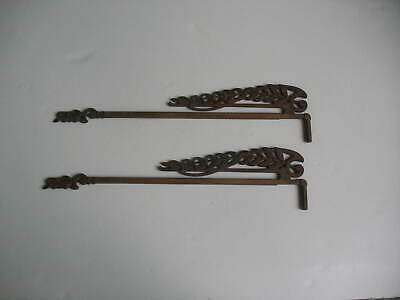 Antique Pair Of Cast Iron Brass Finish Adjustable Swing Arm Drapery Hanging Rods