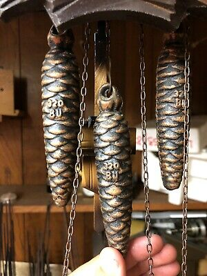 Set of 3 Cast Iron Cuckoo Clock Pine Cone Weights 320 SCH  Approx. 11.4 oz Ea.